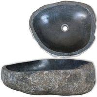 vidaXL Νιπτήρας River Stone Οβάλ 38-45 εκ. Πέτρινος