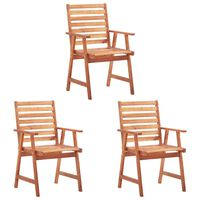 vidaXL Καρέκλες Τραπεζαρίας Εξωτερικού Χώρου 3 τεμ. Μασίφ Ξύλο Ακακίας