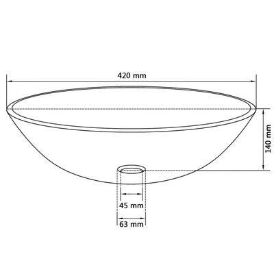 vidaXL Νιπτήρας Διάφανος 42 εκ. από Ψημένο Γυαλί