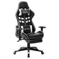 vidaXL Καρέκλα Gaming με Υποπόδιο Ασπρόμαυρη από Συνθετικό Δέρμα