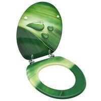 vidaXL Κάλυμμα Λεκάνης με Καπάκι Σχέδιο Σταγόνες Πράσινο από MDF