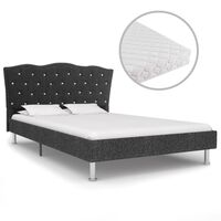 vidaXL Κρεβάτι Σκούρο Γκρι 140 x 200 εκ. Υφασμάτινο με Στρώμα