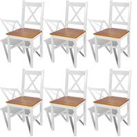 vidaXL Καρέκλες Τραπεζαρίας 6 τεμ. Λευκές από Ξύλο Πεύκου