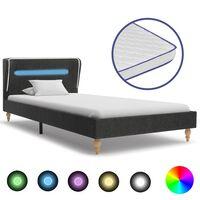 vidaXL Κρεβάτι με LED Σκούρο Γκρι 120x200 εκ. Λινάτσα με Στρώμα Αφρού