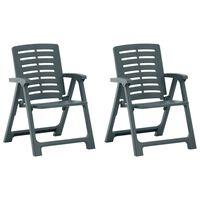 vidaXL Καρέκλες Κήπου 2 τεμ. Πράσινες Πλαστικές