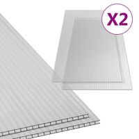 vidaXL Πολυκαρβονικά Φύλλα 2 τεμ. 6 χιλ. 150 x 65 εκ.