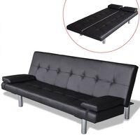 vidaXL Καναπές-Κρεβάτι 2 Μαξιλάρια Ρυθμιζόμενος Μαύρος Συνθετικό Δέρμα