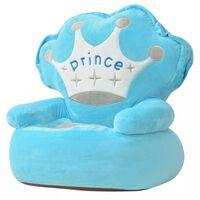 "vidaXL Πολυθρόνα Παιδική ""Πρίγκηπας"" Μπλε Λούτρινη"
