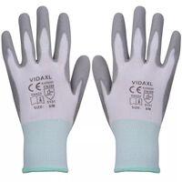vidaXL Γάντια Εργασίας 24 Ζεύγη Λευκό/Γκρι Μέγεθος 8/M Πολυουρεθάνη