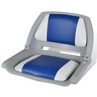Αναδιπλούμενο Κάθισμα Βάρκας με Μαξιλάρι Μπλε-Λευκό 41 x 51 x 48 cm
