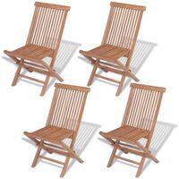 vidaXL Καρέκλες Εξωτερικού Χώρου Πτυσσόμενες 4 τεμ. Μασίφ Ξύλο Teak