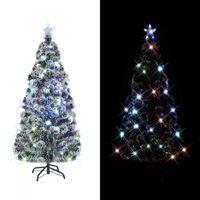 vidaXL Χριστουγεννιάτικο Δέντρο Τεχνητό Βάση/LED/Οπτικές Ίνες 180 εκ.