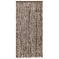 vidaXL Σήτα - Κουρτίνα Πόρτας Καφέ / Λευκό 100 x 220 εκ. από Σενίλ