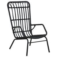 vidaXL Καρέκλα Κήπου Μαύρη από Συνθετικό Ρατάν