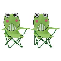 vidaXL Καρέκλες Παιδικές Κήπου 2 τεμ. Πράσινες Υφασμάτινες