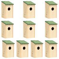 vidaXL Φωλιές Πουλιών 10 τεμ. 12 x 12 x 22 εκ. από Μασίφ Ξύλο Ελάτης