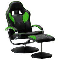 vidaXL Καρέκλα Gaming Ανακλινόμενη Πράσινη Συνθετικό Δέρμα με Υποπόδιο