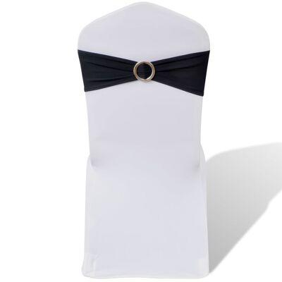 Κορδέλα Καρέκλας Εκδηλώσεων Διακοσμητική 25 τεμ. Μαύρη με Αγκράφα