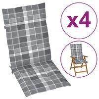 vidaXL Μαξιλάρια Καρέκλας Κήπου με Πλάτη 4 τεμ. Γκρι Καρό 120x50x4 εκ.