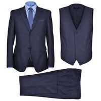 Κοστούμι Ανδρικό Επαγγελματικό Τριών Τεμαχίων Ναυτικό Μπλε Μέγεθος 46
