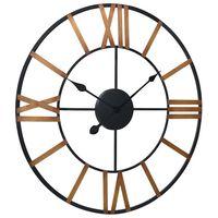 vidaXL Ρολόι Τοίχου Χρυσό / Μαύρο 70 εκ. Μεταλλικό