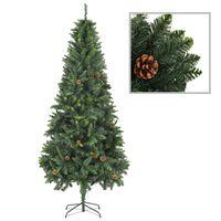 vidaXL Χριστουγεννιάτικο Δέντρο Τεχνητό Πράσινο 210 εκ. με Κουκουνάρια