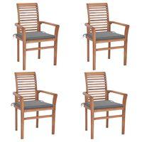 vidaXL Καρέκλες Τραπεζαρίας 4 τεμ. Μασίφ Ξύλο Teak με Γκρι Μαξιλάρια