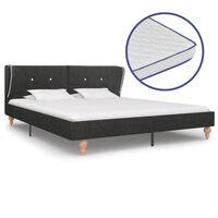 vidaXL Κρεβάτι Σκούρο Γκρι 160x200 εκ. Λινάτσα + Στρώμα Αφρού Μνήμης