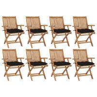 vidaXL Καρέκλες Κήπου Πτυσσόμενες 8 τεμ. Μασίφ Ξύλο Teak με Μαξιλάρια