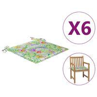 vidaXL Μαξιλάρια Καρέκλας Κήπου 6 τεμ Σχέδιο Φύλλων 50x50x4 εκ. Υφασμ.
