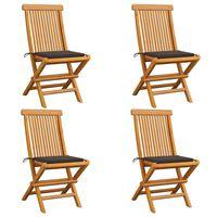 vidaXL Καρέκλες Κήπου 4 τεμ. από Μασίφ Ξύλο Teak με Taupe Μαξιλάρια