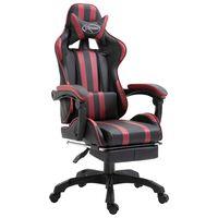 vidaXL Καρέκλα Gaming με Υποπόδιο Μπορντό από Συνθετικό Δέρμα