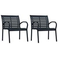 vidaXL Καρέκλες Κήπου 2 τεμ. Μαύρες από Ατσάλι / WPC