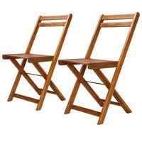 vidaXL Καρέκλες Bistro Εξωτερικού Χώρου 2 τεμ. από Μασίφ Ξύλο Ακακίας