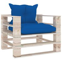vidaXL Πολυθρόνα Κήπου από Παλέτες Ξύλο Πεύκου με Μπλε Ρουά Μαξιλάρια