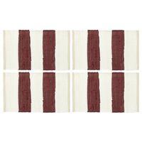 vidaXL Σουπλά Chindi 4 τεμ. Ριγέ Μπορντό / Λευκό 30 x 45 εκ.