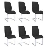 vidaXL Καρέκλες Τραπεζαρίας «Πρόβολος» 6 τεμ. Μαύρες Υφασμάτινες