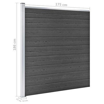 vidaXL Σετ Πάνελ Περίφραξης Μαύρο 1737 x 186 εκ. από WPC