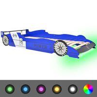 vidaXL Κρεβάτι Παιδικό Αγωνιστικό Αυτοκίνητο με LED Μπλε 90 x 200 εκ.