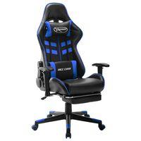 vidaXL Καρέκλα Gaming με Υποπόδιο Μαύρο / Μπλε από Συνθετικό Δέρμα
