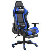 vidaXL Καρέκλα Gaming Περιστρεφόμενη με Υποπόδιο Μπλε PVC