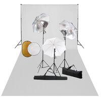 vidaXL Κιτ Φωτογραφικού Στούντιο Λάμπες, Ομπρέλες,Φόντο & Ανακλαστήρας