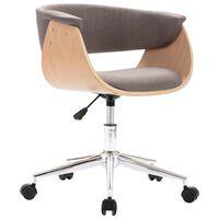 vidaXL Καρέκλα Γραφείου Περιστρεφόμενη Taupe από Λυγισμένο Ξύλο/Ύφασμα