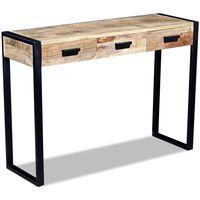vidaXL Κονσόλα Τραπέζι με 3 Συρτάρια 110x35x78 εκ. Μασίφ Ξύλο Μάνγκο
