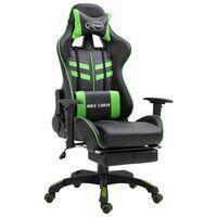 vidaXL Καρέκλα Gaming με Υποπόδιο Πράσινη από Συνθετικό Δέρμα