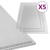 vidaXL Πολυκαρβονικά Φύλλα 5 τεμ. 4,5 χιλ. 150 x 65 εκ.