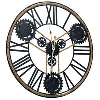 vidaXL Ρολόι Τοίχου Μαύρο 70 εκ. Μεταλλικό