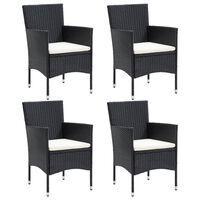 vidaXL Καρέκλες Τραπεζαρίας Κήπου 4 τεμ. Μαύρες από Συνθετικό Ρατάν