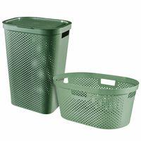Curver Καλάθια Απλύτων & Πλυμένων Ρούχων 2 τεμ Infinity Πράσινα 40+60L