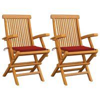 vidaXL Καρέκλες Κήπου 2 τεμ. από Μασίφ Ξύλο Teak με Κόκκινα Μαξιλάρια